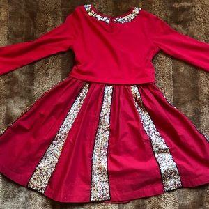 Mini Boden Dresses - Girls Mini Boden Sequined Skater Dress Sz 11 12